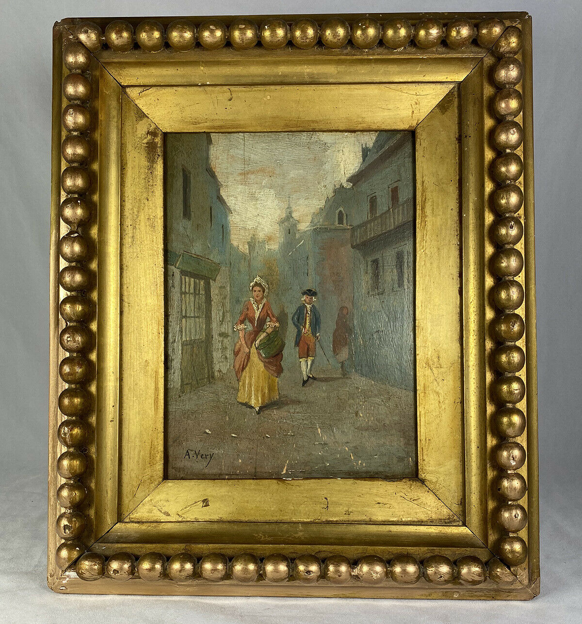 PAIR: Antique Oil Painting on Board, Original c.1870s Wood Frame, Gilt & Gadroon