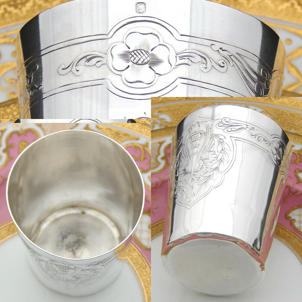 Antique French Sterling Silver Wine or Mint Julep Cup, Empire Swan Wings, Torch