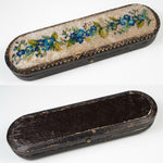 Antique Victorian French Beadwork, Beaded Spectacles Case, Leather for Specs