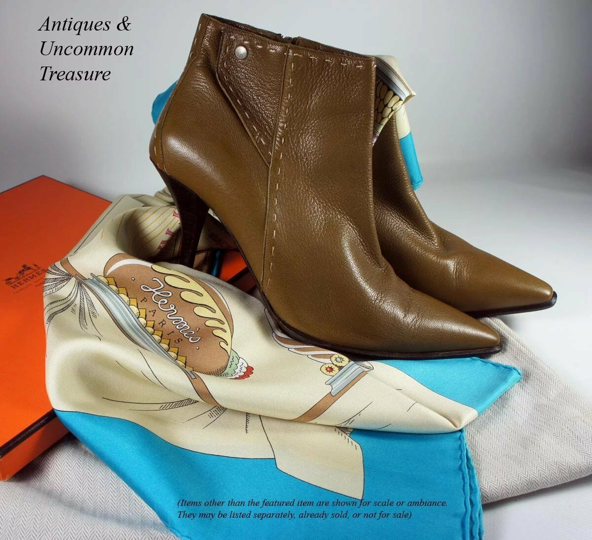 "Elegant HERMES Ankle Boots, Booties, in Camel Color, Cream Top Stitch, 3"" Heel"