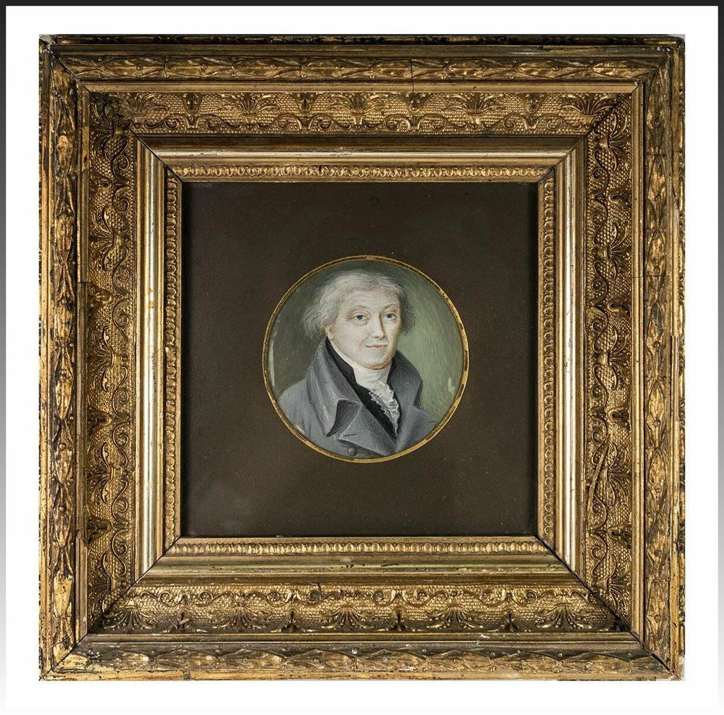 Exceptional Antique French Portrait Miniature in Fine Wood Frame, c.1800-1820