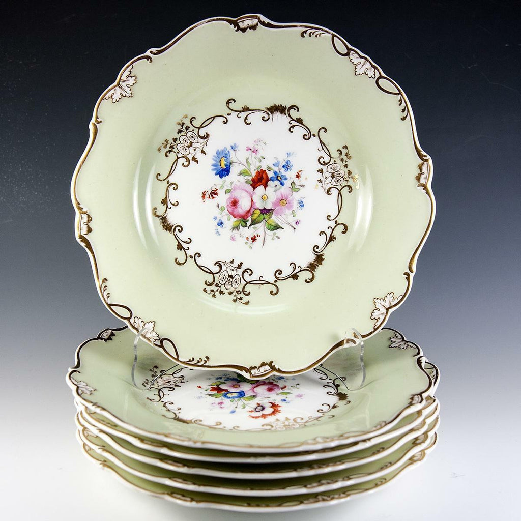 Fine HP Antique Old Paris Porcelain Dessert Set, 6 Plates, 1 Platter, e. 1800s