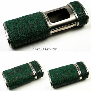 Fine c.1900-1920 Antique English Shagreen Match Vesta, Holder, Etui