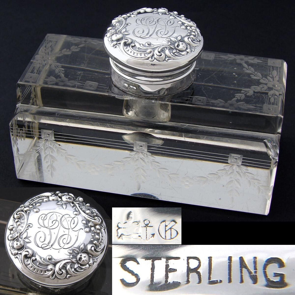 "Elegant Antique Gorham Sterling Silver & Cut Crystal 5"" Inkwell, Etched Garland"