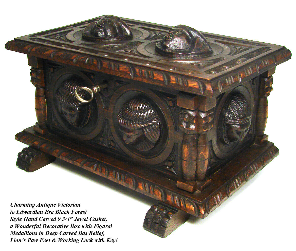 "Charming Antique Victorian Carved Black Forest Style 9.75"" Casket, Figural Box"