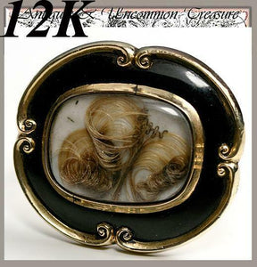 Antique Victorian 12K Gold Mourning Brooch, Black Enamel & Blond Hair Art