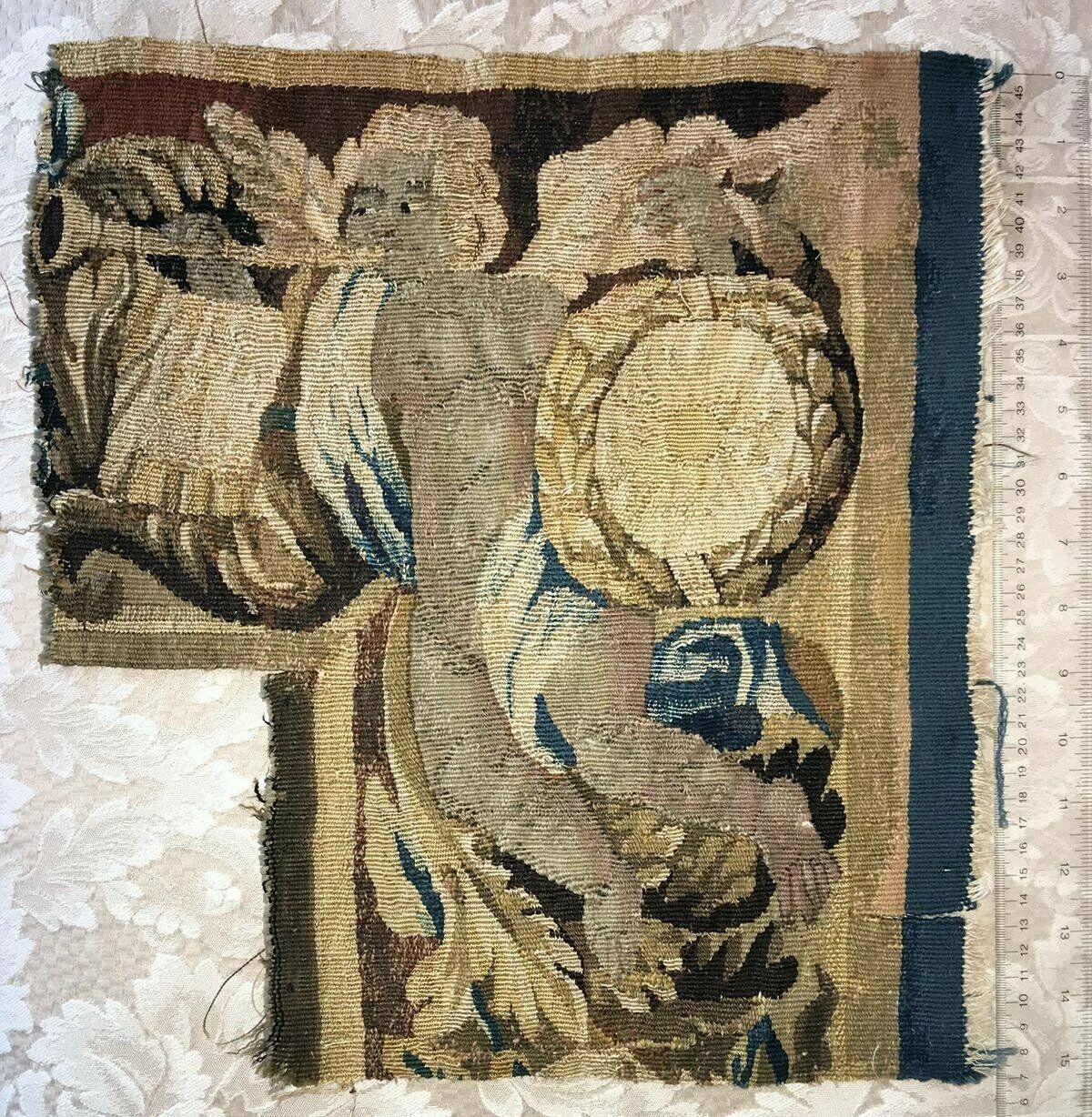 "Antique c.1700s French Gobelin Tapestry Fragment, Figural, Putti, 15"" x 14"""