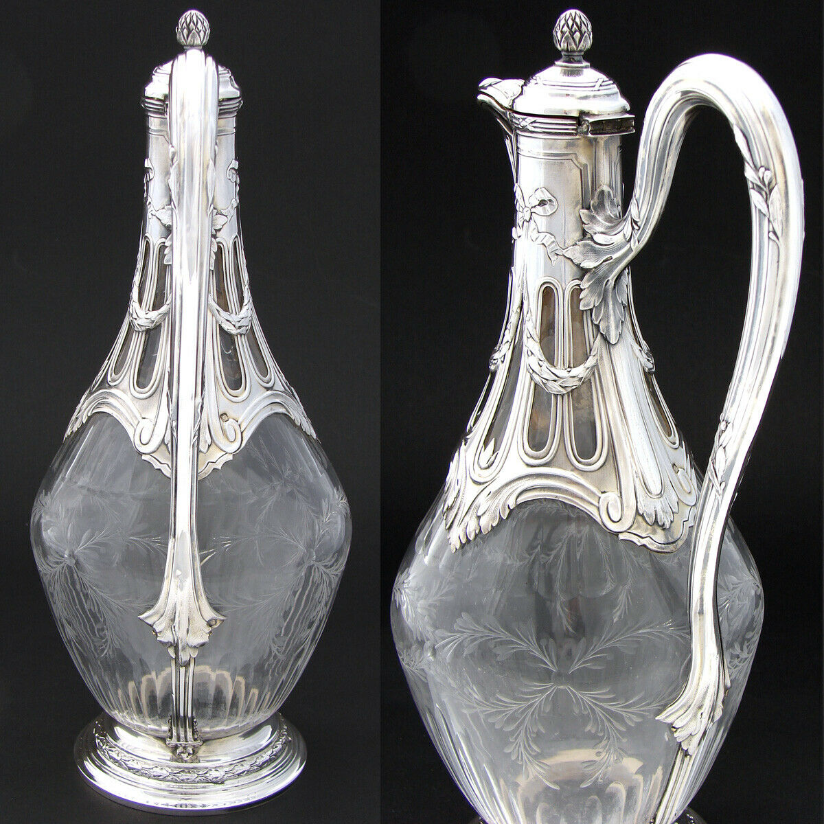 Antique French PUIFORCAT Sterling Silver & Intaglio Glass Claret Jug, Empire