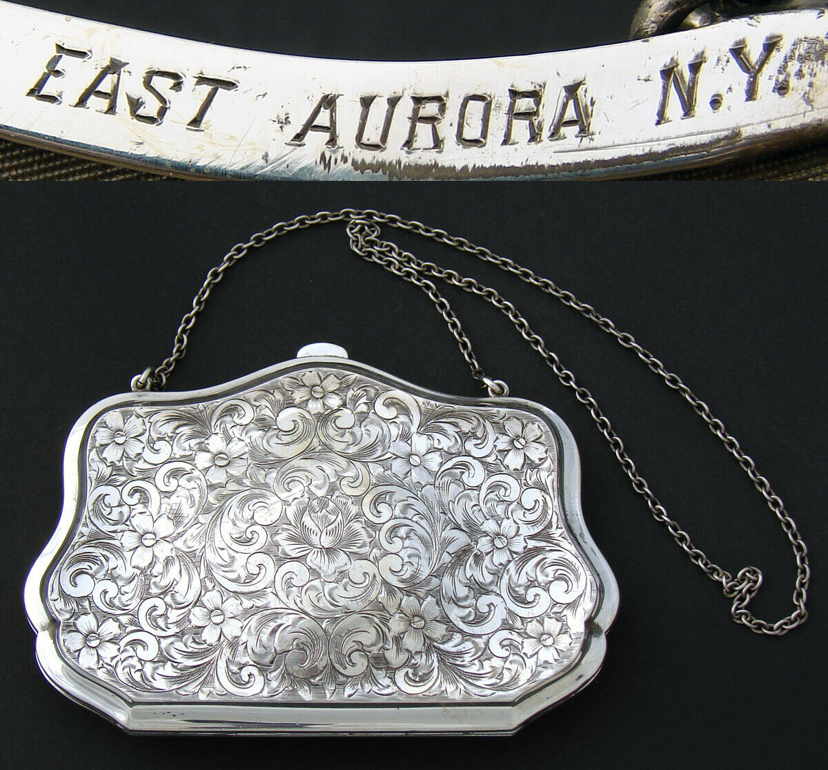 "Antique Sterling Silver 4.25"" Purse or Hand Bag, Ornate Decoration, ID'd Owner"