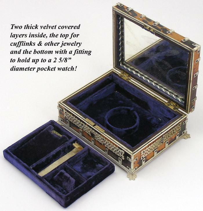 Antique 1840 Vizagapatam Tortoise Shell Jewelry Casket, Pocket Watch Holder