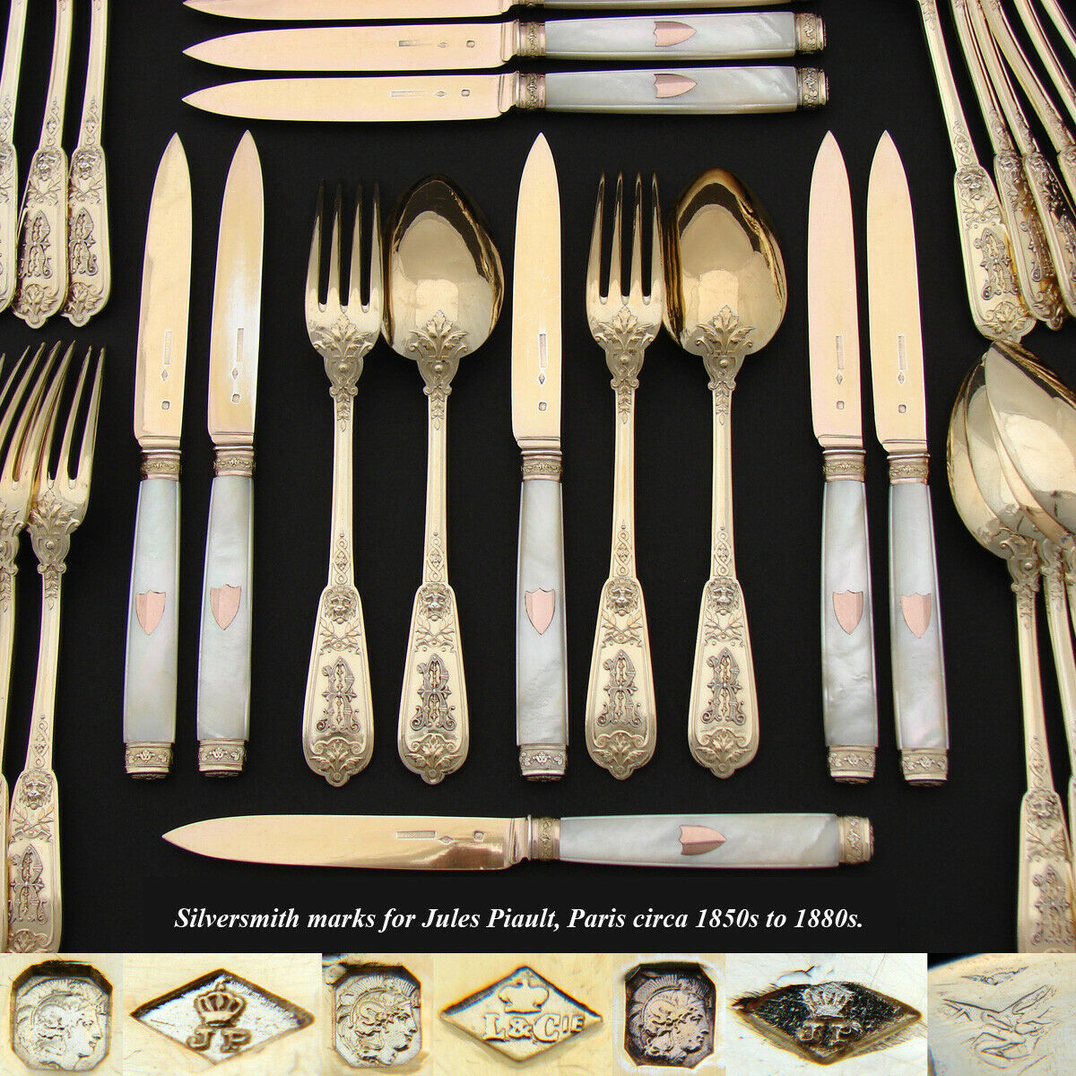 RARE 60pc Set Antique French Vermeil 18k Gold on Sterling Silver Flatware Set, Ornate