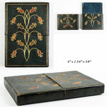Antique Italian Gilt Embossed Leather Calling or Business Card Case, Box