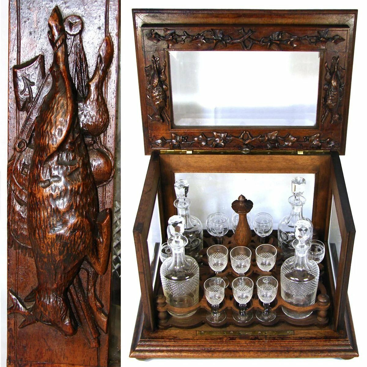"Antique Black Forest 15.5"" Liquor Tantalus, Cave a Liqueur, ""Fruits of the Hunt"""