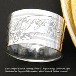 "Antique French Sterling Silver Napkin Ring, ""LF"" Monogram, Floral, Guilloche"