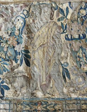 "RARE c.1600s Woven Flemish Tapestry 70"" Long, 19"" Wide, Figures, Putti, Rabbits"