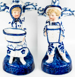 Antique Cold Paste Porcelain French 3-Branch Candelabra Pair, Figural Blue White