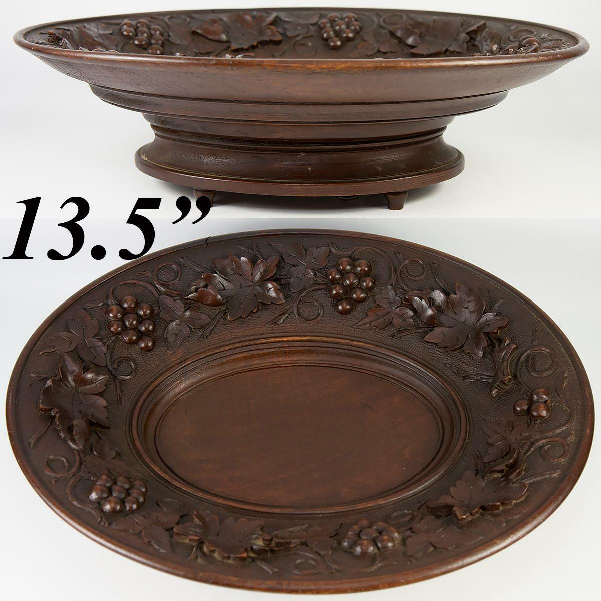 "Antique Black Forest 13.5"" x 10.5"" Oval Raised Centerpiece, Fruit Tray Music Box"