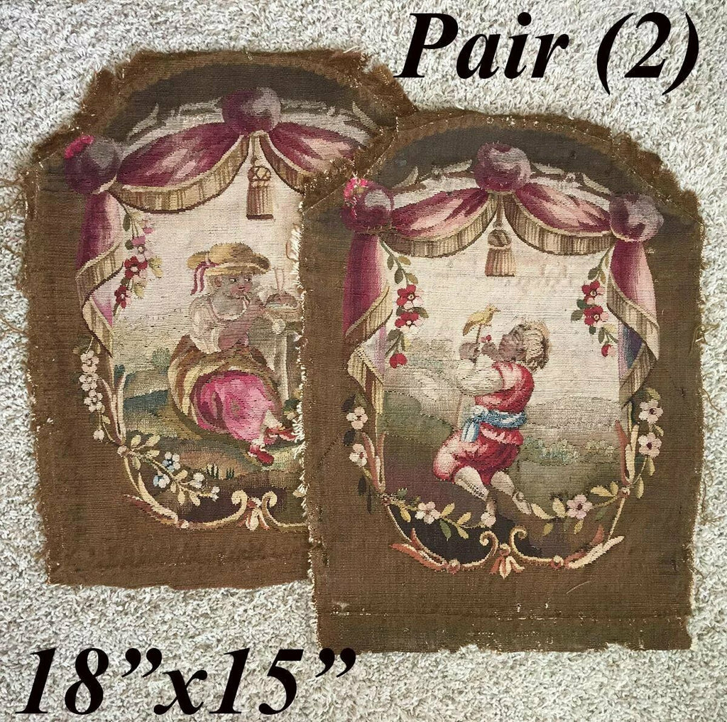 Pair (2) Antique French Aubusson Tapestry Panels, Children, Former Chair Backs