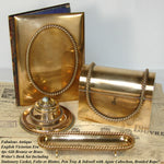4pc Antique Victorian Gilt Desk Set: Inkwell, Stationery Casket, Folio, Pen Tray