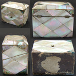 Antique Victorian Mother of Pearl & Abalone Marquetry Perfume Casket, Two Bottle