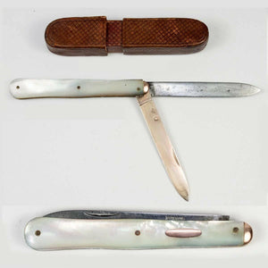 Antique French Mother of Pearl Handle Folding Knife, Vermeil .800 Silver in Case