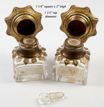 PAIR (2) Antique French Perfume or Scent Bottles, Kiln-fired Enamel Inset Caps