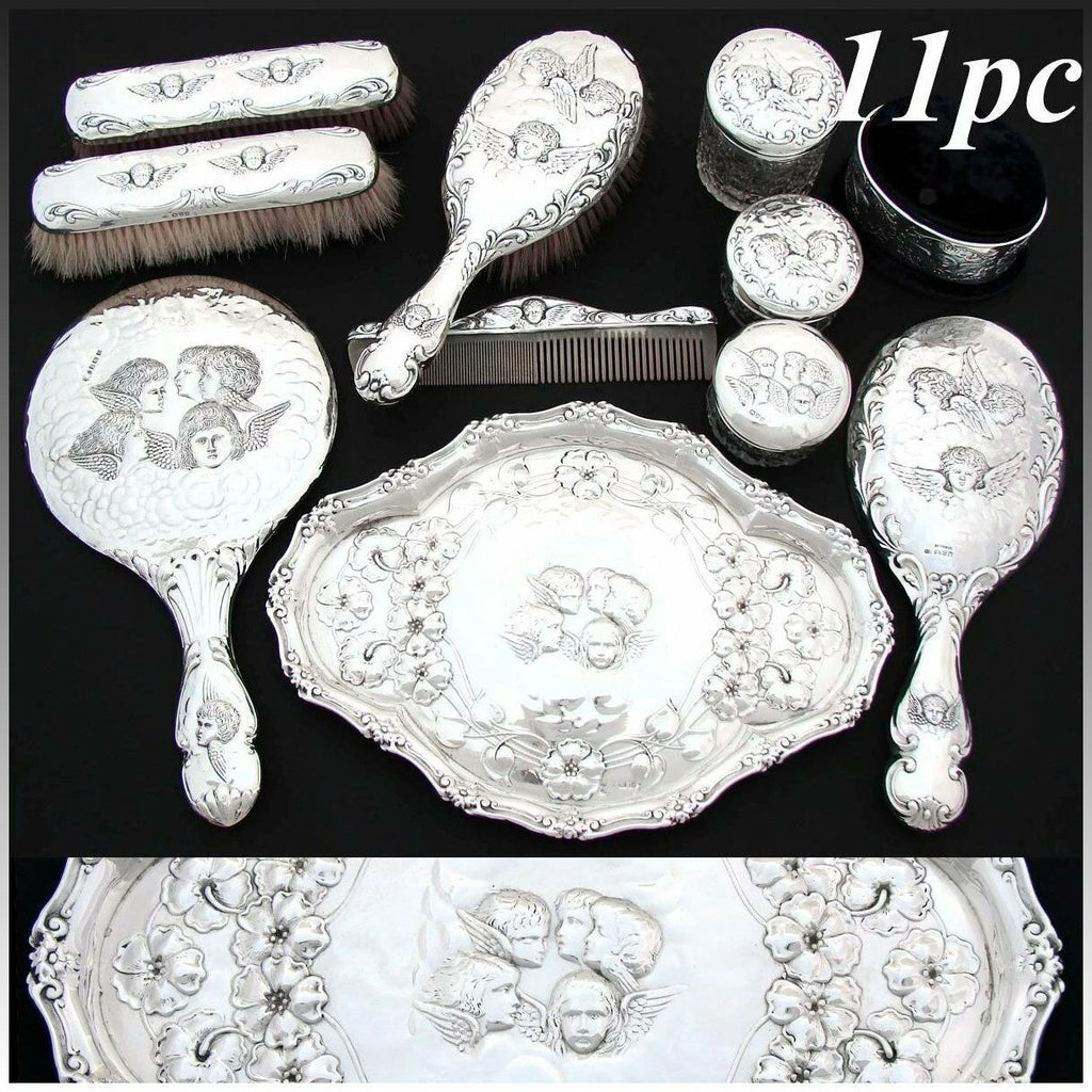 RARE 11pc Set of Antique Sterling Silver Vanity Items with Tray, Reynolds Angels