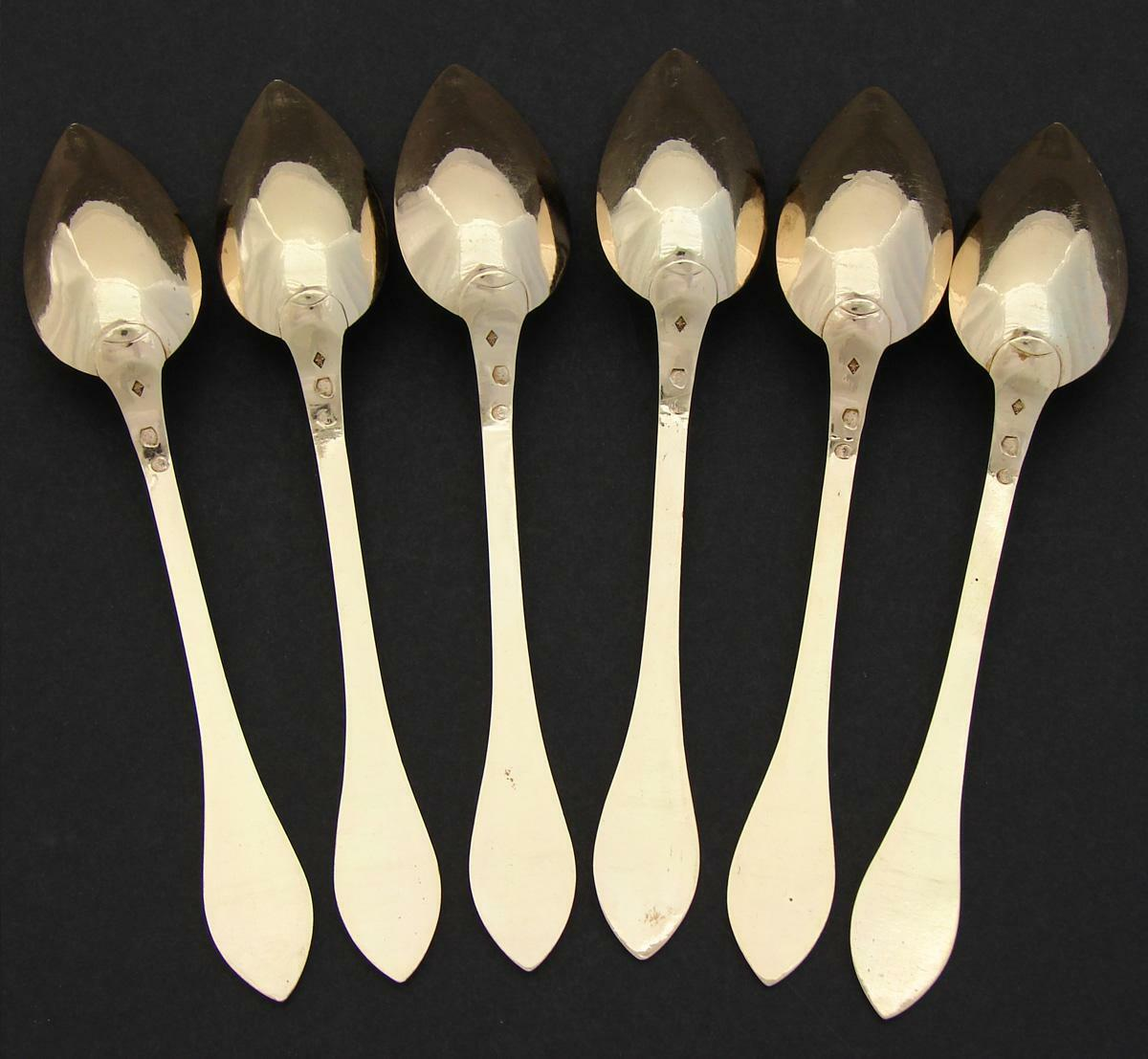 Antique French 1819-1838 Vermeil Silver 6pc Teaspoon Set, Winged Angel or Cherub