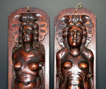 "Antique French Carved Wood Caryatid Figures, 23.5"" tall, Cabinet Fragment Accent"