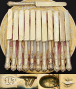 Antique French Hallmarked German Vermeil on .800 Silver 12pc Dessert Knife Set