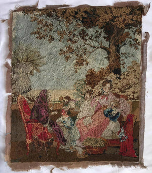 "Antique Georgian Micro Needlepoint Embroidery Panel, 23"" x 19"" Tapestry with Dog"