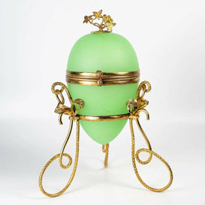 Antique French Opaline Egg Trinket or Jewelry, Perfume Box, Casket, Palais Royal