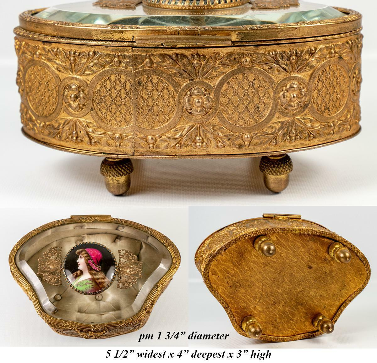 Antique French Jewelry Casket, Box, Glass Top, Kiln-fired Portrait of St. Helen