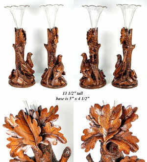 Antique Hand Carved Wood Black Forest Game Hens, Epergne or Candle Stands, Vases
