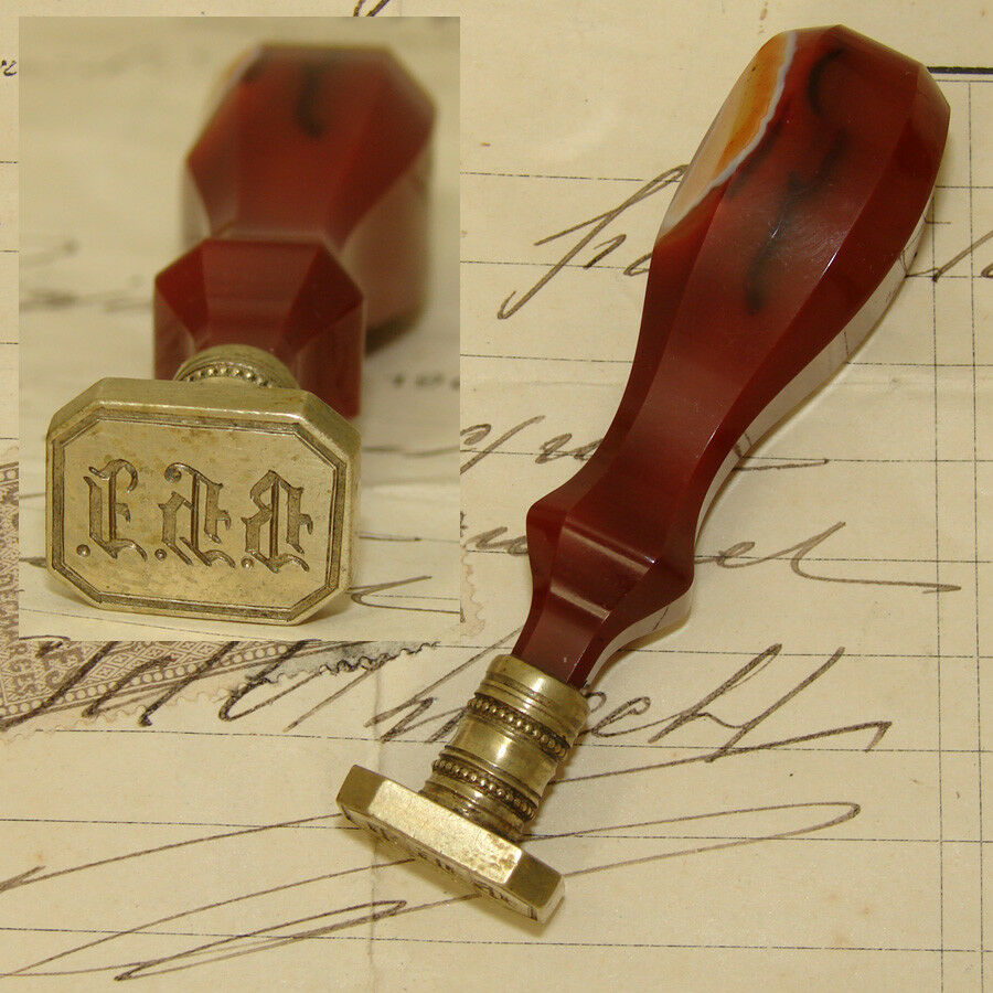 Antique Victorian Era Banded Agate Writer's Wax Seal or Sceau, Ornate Monogram