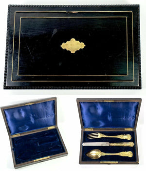 Antique French 18K Gold Vermeil on .800/1000 Silver 3pc Place Setting, Orig Box
