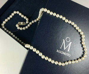 "Vintage MIKIMOTO Pearl Necklace, 6.5 mm, 24"" Long & in Original Presentation Box"