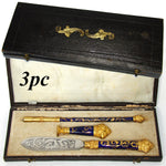 Antique French Enamel Pen Set, French Writer's Set in Original Leather Box, Etui