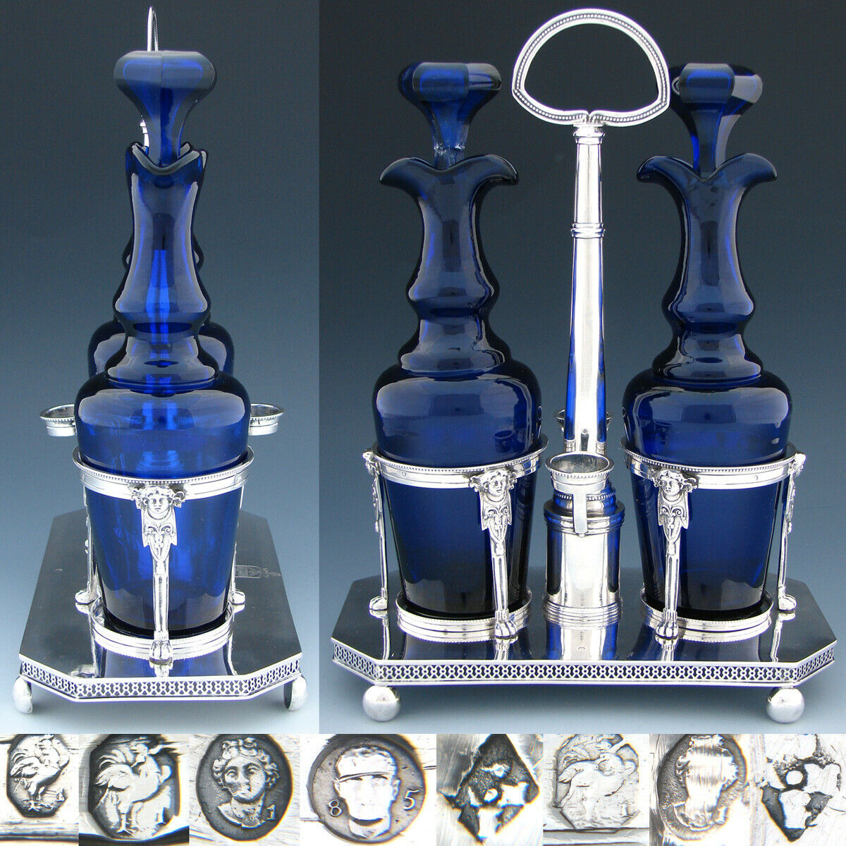 "Antique French Napoleonic Sterling Silver 11"" Oil & Vinegar Cruet Stand, Cobalt"