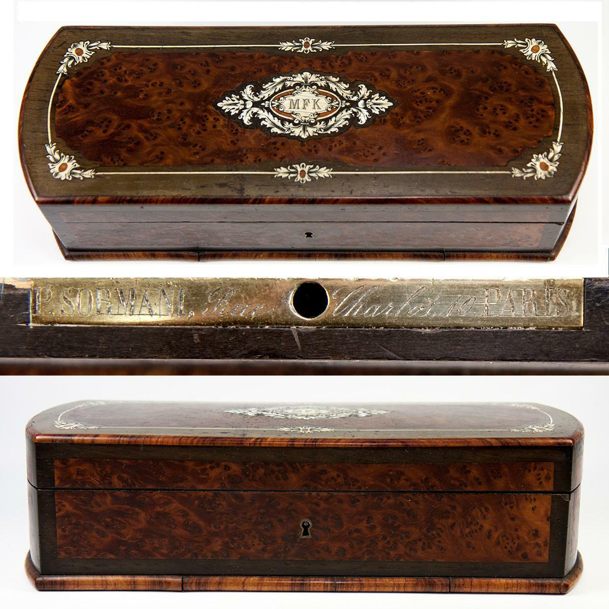 Antique French Napoleon III Marquetry Jewelry or Gloves Box, Paul SORMANI