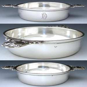 "Elegant Antique French Sterling Silver 8 3/8"" Wide 'Ecuelle', Serving Dish, Bowl"