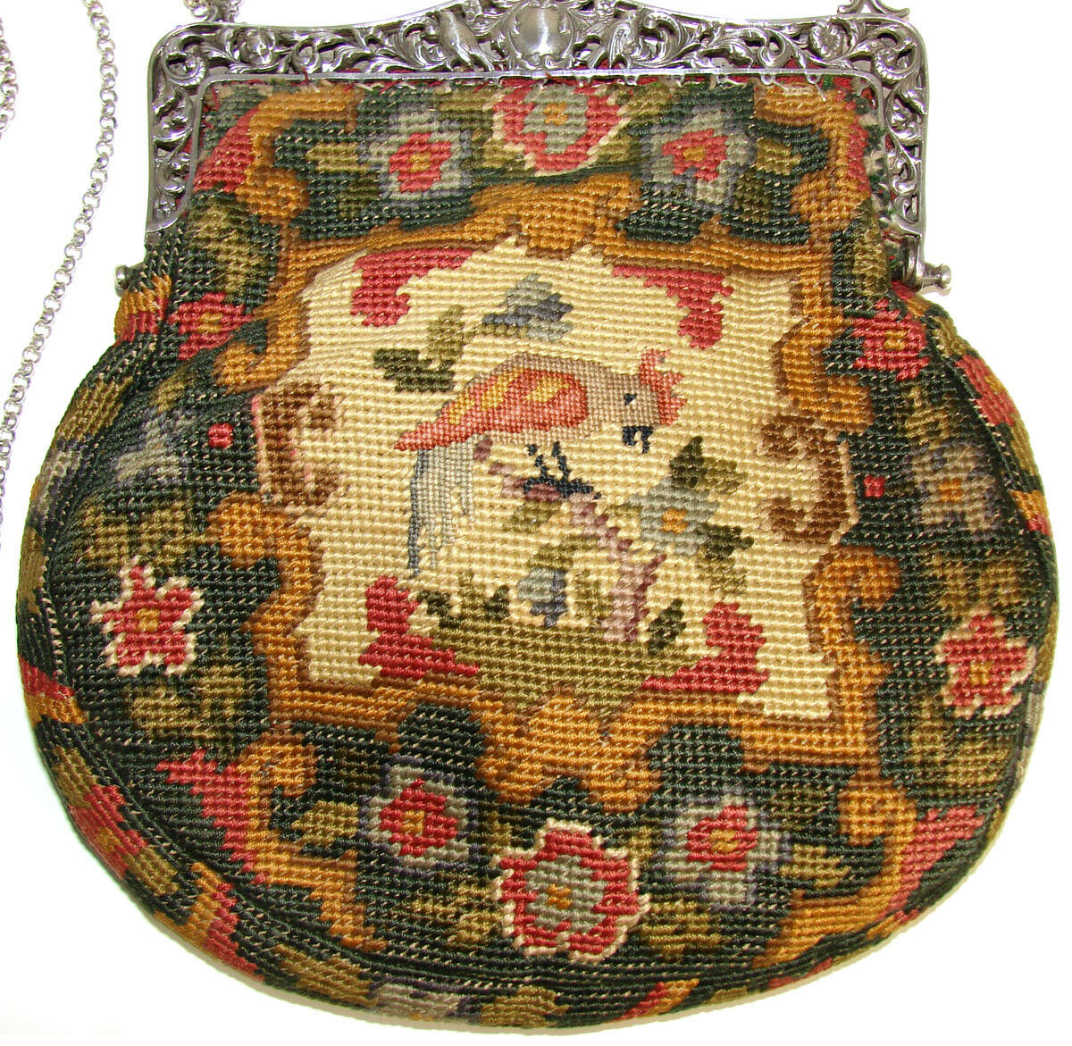 FAB Vintage 1928 Hallmarked Silver & Figural Needlepoint Purse, Hand Bag, Crown
