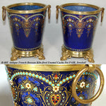 RARE Antique French Kiln-fired Enamel Cache Pot PAIR, Jardiniere, Bresse Jeweled