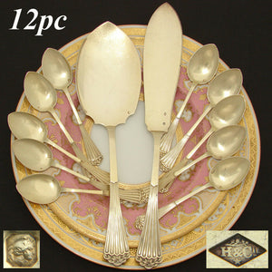 Antique French Sterling Silver & 18k Gold Vermeil 13pc Ice Cream Service, Henin