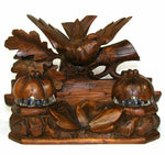 Antique Black Forest Carved Figural Double Inkwell Stand, Desk Caddy, Large Bird