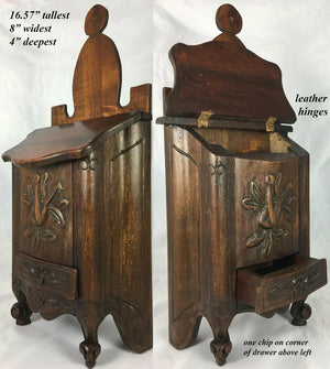 "Antique Hand Carved French Salt Box, Cabinet, 16.75"" Tall, Country French Charm"