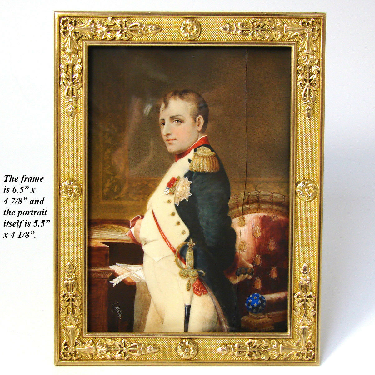 Rare Antique French Portrait Miniature: Napoleon Bonaparte, Full Military Dress