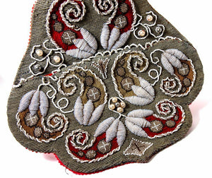 Antique Victorian Beadwork Wall Pocket, Needlepoint & 3-D Raised Embroidery Bead