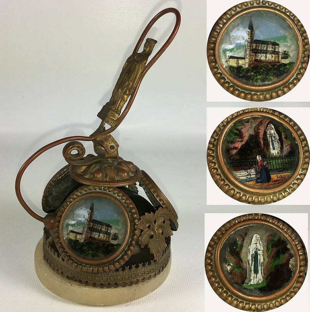 Antique French Souvenir Hotel or Servant Bell, 3 Paintings, Miracle of Lourdes