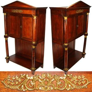 "Rare Antique French Napoleon Era 33.5"" Table Cabinet, Empire Rosewood & Bronze"